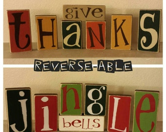 Reversible Give Thanks/Jingle Bells Blocks