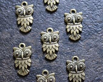 Owl charm, Antique bronze Owl Charm