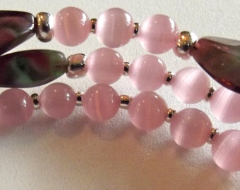 Pink and Purple Glass Rosary Bracelet