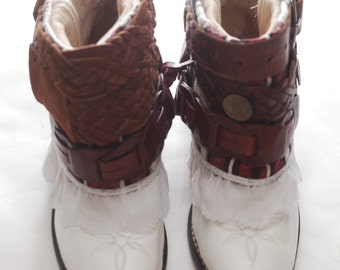 Western Boho Belt Hippie Ethnic Leather Booties Ankle Cowgirl Cowboy Boots