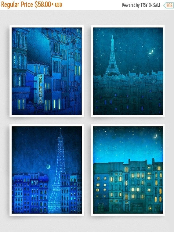 20% OFF SALE: Any FOUR Prints - Save 30 Percent,Set of four Illustrations,Paris Art Prints Posters Home decor Wall art Mixed media Architect