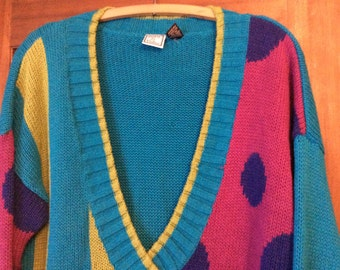 1980's Slouch Sweater / Awesome Eighties Sweater / Size L