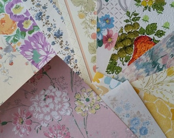 Bold Vintage Floral Wallpaper Scrap Pack | Kitsch Paper Samples | 8 x 10 Sheets | LAST ONES