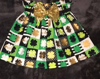 ON SALE  Lucky St. Patrick's Day Irish Clover Shamrock High Waisted Skirt Paper Bag Skirt Sequin Belt