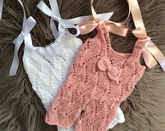 Newborn  Girl Photo Prop ,Baby girl Overalls ,Baby girl knit overalls .