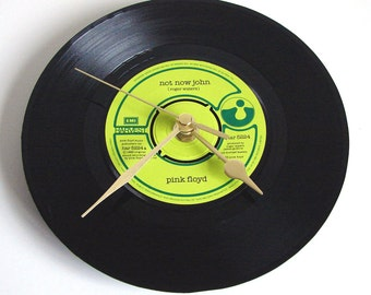 """PINK FLOYD Vinyl Record CLOCK """"Not Now John"""" 7"""" single. Unique Gift for prog rock fans dad brother boyfriend co worker green and black cool"""