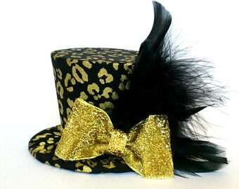 Mini Top Hat Headband, Black & Gold Leopard, READY TO SHIP, 1st Birthday, Tea Party, Sparkle Birthday, Costume, Photo Prop, Cake Smash