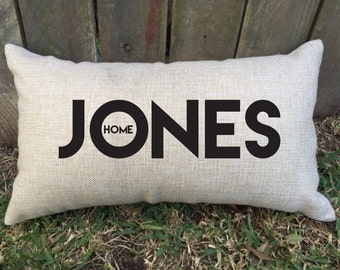 """Super cute family name pillow, perfect for 2nd wedding anniversary """"cotton"""", Valentine's Day, bridal shower, newly weds & house warming gift"""