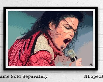 Michael Jackson Illustration, King of Pop Music Icon, Jackson Five Pop Art, Home Decor, Poster, Print Canvas