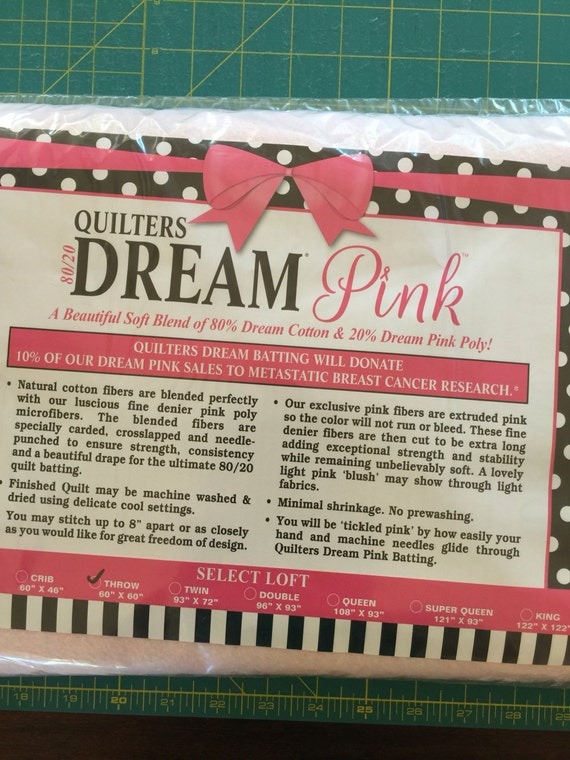Quilters Dream Pink Cotton/Poly Blend Batting ~ Throw Size