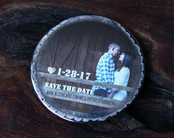 RUSTIC PHOTO design - Save the Date Magnets x 40