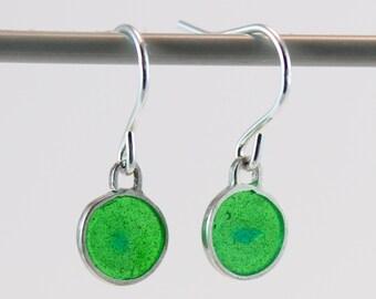 Silver plique a jour enamel, stained glass earrings, spring green