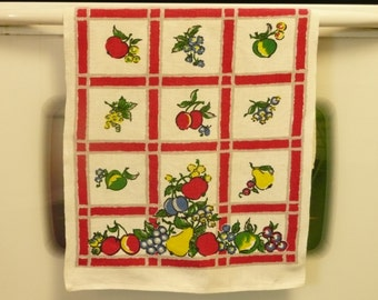 RARE 1950s Cotton Dish Tea Towel, Red Plaid w/ Fruits, Vintage Textiles - Home and Travel Trailer Decor