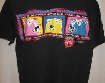 vintage, COKE bears coke cola Andy Warhol bears black T shirt size XL