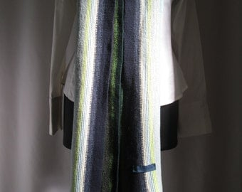 "vintage, BALTHAZAR multi colored extra long fringed scarf 80"" X 10"" wool nylon blend"