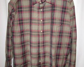 vintage, SIR PENDLETON tartan plaid mens wool long sleeve shirt khaki blue cranberry size big tall 2X