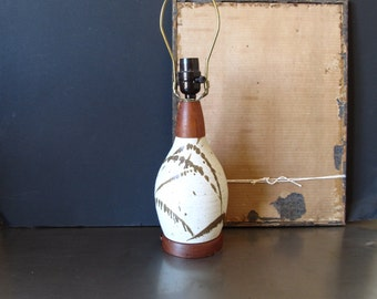 Vintage mid century style table lamp, ceramic lamp, retro decor