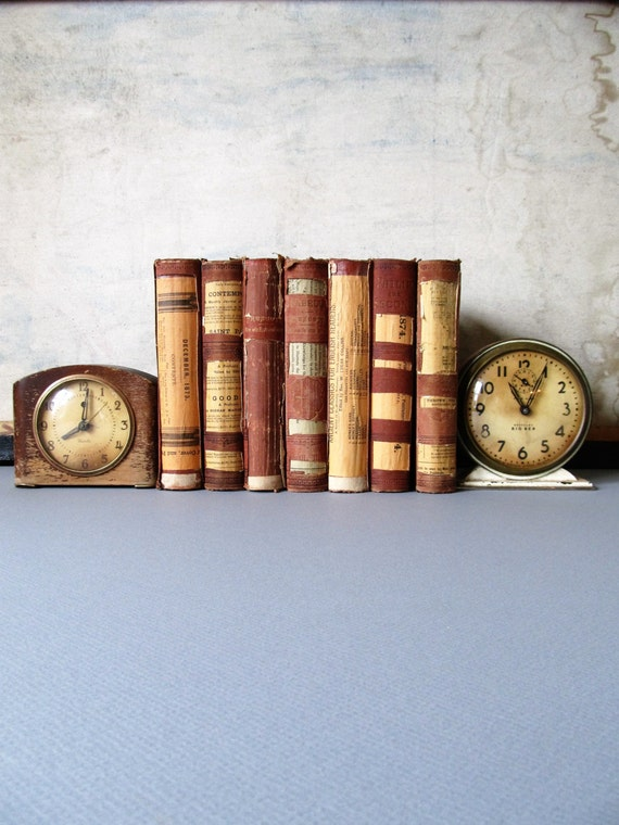 Vintage book decor antique history books library by for Antique books for decoration