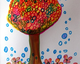 Hand painted card Handmade greeting card painting card Happy Day Tree Flowers Blank card