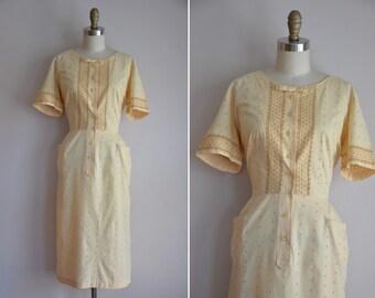 50s The Sunny Spot dress / vintage 1950s cotton sundress/ vintage embroidered daydress