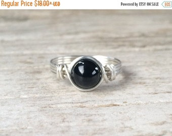 Fall Sale Black Onyx Ring, Sterling Silver Filled Ring, Wire Wrapped Ring, Gemstone Ring, Stone Ring