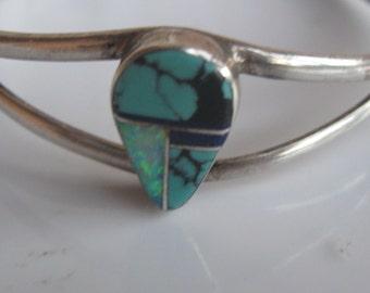 Vintage Bracelet Native American Opal Turquoise Sterling