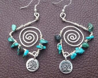 Turquoise & Tree of Life Charm Earrings