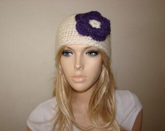 Cream knit headband with purple flower, Christmas gift stoking stuffers, ear warmer,woman head wrap