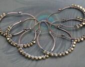 Rustic Large Brass and Copper Hoops earrings n8- solid brass beaded hoops  . gypsy hoops . hoops earrings . solid copper hoops . solid brass