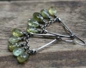 Rustic Sterling Silver *Droplets of green Olive Garnet * earrings n.199- faceted green garnet stones . stones fringes . artisan fine  gypsy