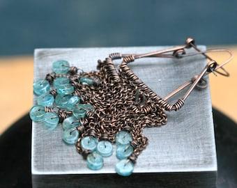Rustic Apatite Stones ' Rain is Blue ' earrings n119-  Raw Crystals earrings . Blue Crystals . Chain Fringes earrings . Long . Apatite discs