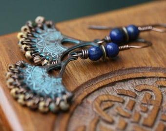 Rustic Bohemian Chandellier  Lady with Fan * Dangle earrings n131- Fan earrings . bohemian jewelry . Mykono beads . blue patina earrings