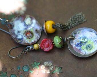 Artisan Tribal Bohemian OOAK Assemblage 'Not all those who wander are lost ' Series earrings n.30- asymmetrical fantasy whimsical enamel