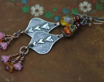 Rustic Bohemian Three Heart earrings n146- metalwork . invicit . organic lampwork . earthy jewelry . primitive red heart . Spring jewelry