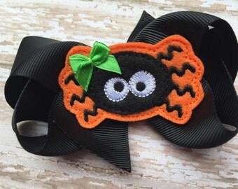 Halloween bow - spider bow, halloween hair bow, black bow
