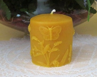 Beeswax Butterfly Pillar Candle