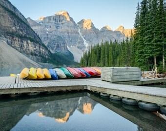 Banff Landscape Photography Print - Canadian Rockies Sunrise - Moraine Lake Canada - Rocky Mountain - 11x14 16x20 20x30 24x36 30x40