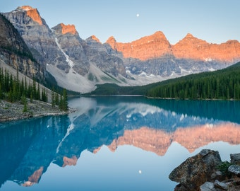 Banff Landscape Photography Print - Canadian Rockies Sunrise - Moraine Lake Canada - Rocky Mountain - 11x14 16x20 20x30 24x36 30x40