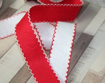Red and White Felt Ribbon Trim, Christmas, Edging, Ribbon, By the metre