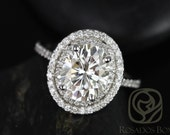 Cara 10x8mm 14kt White Gold Oval FB Moissanite and Diamonds Double Halo Engagement Ring (Other metals and stone options available)