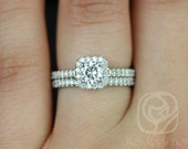 Mikena 5mm 14kt White Gold Round FB Moissanite and Diamonds Cushion Halo Wedding Set (Other metals and stone options available)