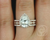 Tabitha 10x7mm & Christie 14kt Pear FB Moissanite and Diamonds Halo TRIO Wedding Set (Other metals and stone options available)