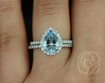 Tabitha 9x7mm 14kt White Gold Pear Aquamarine and Diamonds Halo Wedding Set