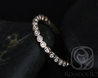 Petite Bubbles 14kt Rose Gold WITHOUT Milgrain Diamonds ALMOST Eternity Band (Available in Other Metals)