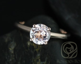 Rosados Box Alberta 7mm 14kt Rose Gold Round Morganite Tulip Solitaire Engagement Ring