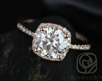 Rosados Box Barra 8mm 14kt Rose Gold Round F1- Moissanite and Diamonds Cushion Halo Diamond Engagement Ring