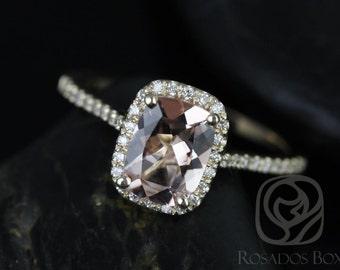 Carrie 8x6mm 14kt Yellow Gold Rectangle Cushion Halo Morganite and Diamond Engagement Ring (Other Center Stone Available Upon Request)
