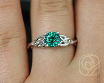 Rosados Box Cassidy 6mm 14kt White Gold Round Emerald Celtic Knot Engagement Ring