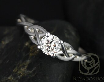 Cassidy 1/2ct 14kt White Gold Round Diamond Celtic Knot Engagement Ring (Other Metals and Stone Options Available)