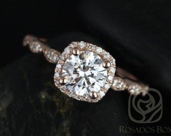 Rosados Box Christie 6.5mm 14kt Gold F1- Moissanite and Diamond Halo WITHOUT Milgrain Engagement Ring